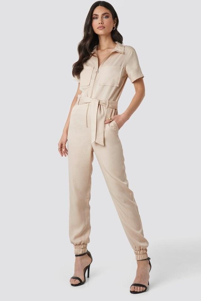 Tencel Cargo Jumpsuit Outfit