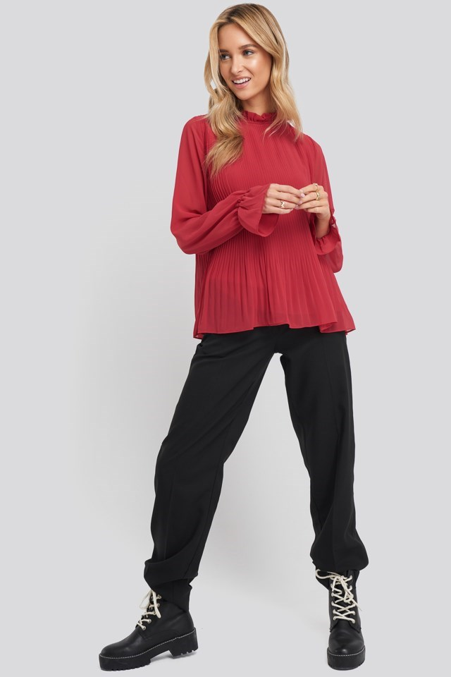 High Neck Pleated Blouse Outfit