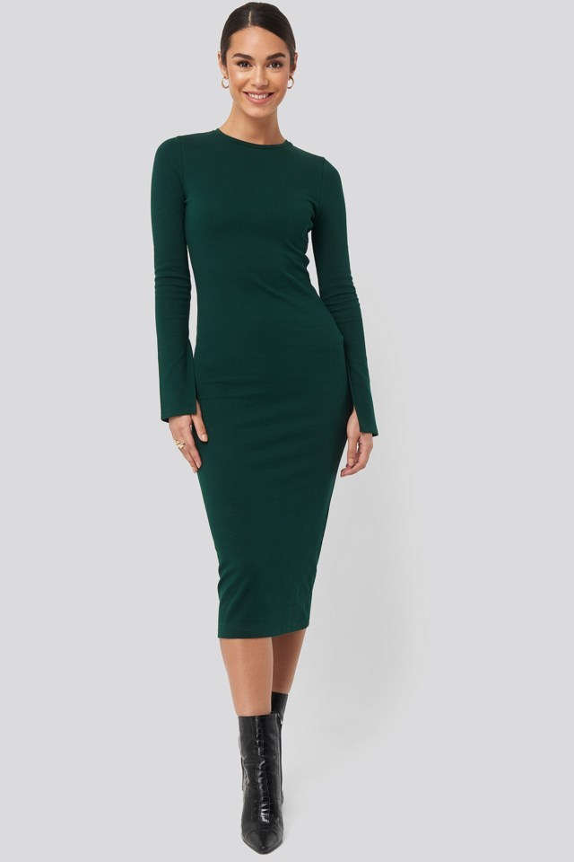 Split Sleeve Jersey Midi Dress Outfit