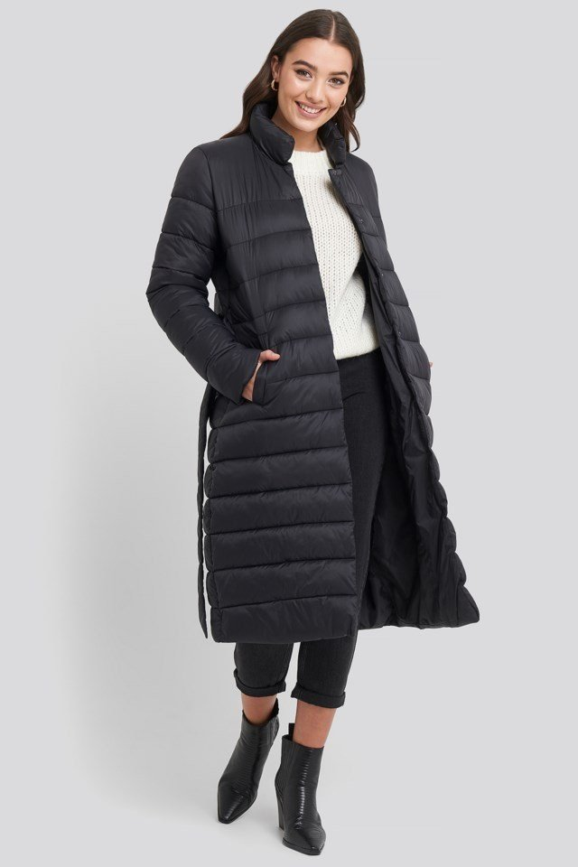 Long Belted Padded Jacket Outfit