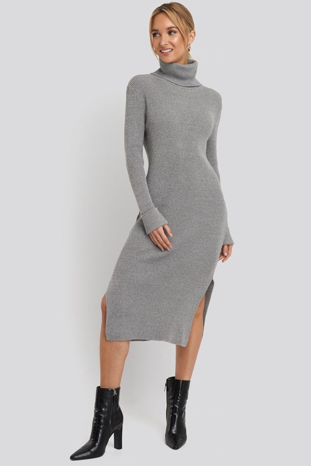 Recycled Turtle Neck Split Hem Sweater Dress Grey Outfit