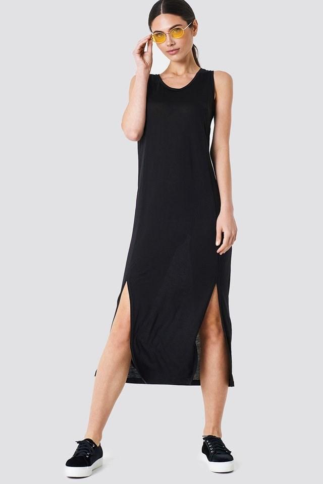 Casual Black Midi Dress