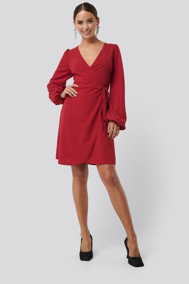 Overlap Balloon Sleeve Dress Red Outfit