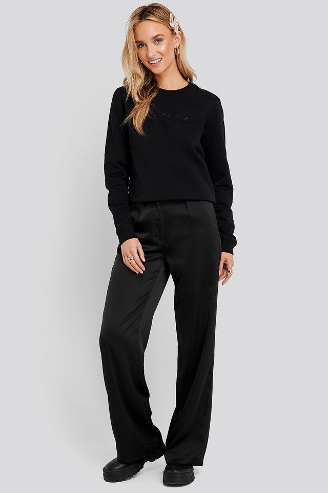Institutional Regular Crew Neck Sweater Black Outfit