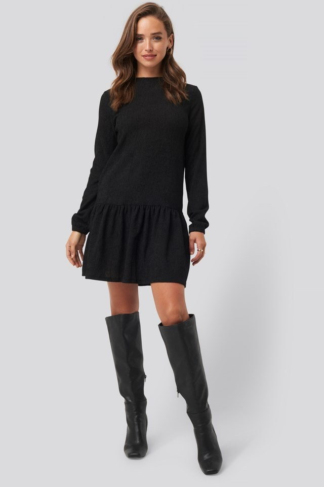 Round Neck Jersey Dress Black Outfit