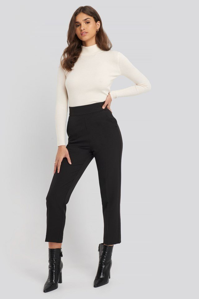 High Waist Cropped Suit Pants Outfit.