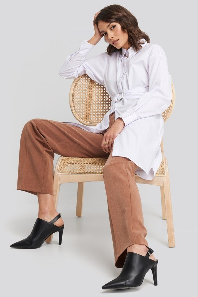 O-ring Belted Shirt Dress Outfit.