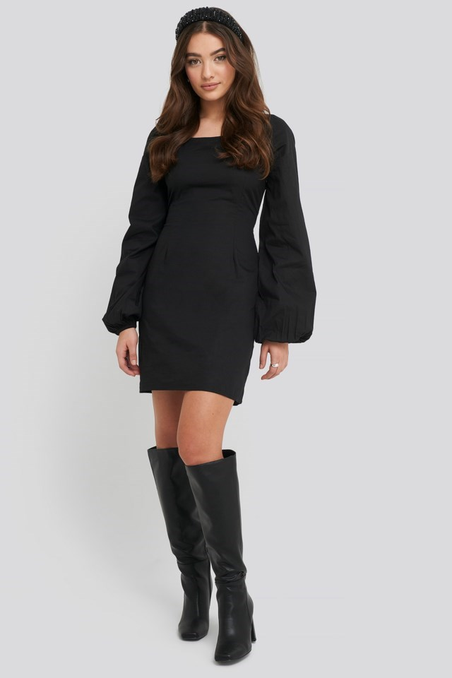Square Neck Balloon Sleeve Dress Outfit.