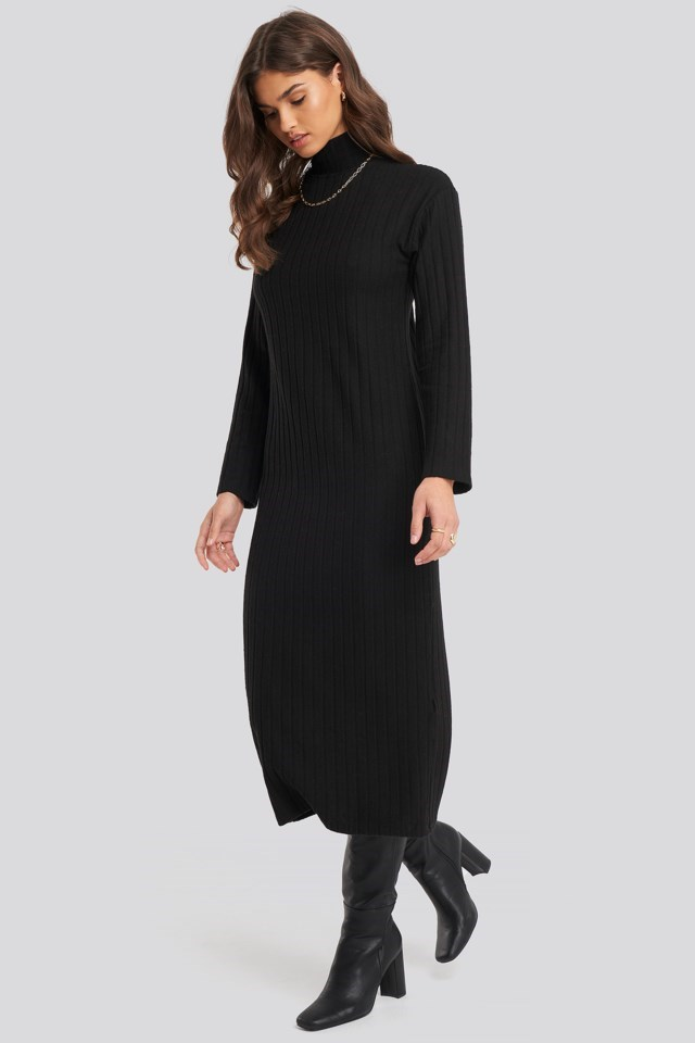 High Neck Ribbed Ankle Length Knitted Dress Outfit.