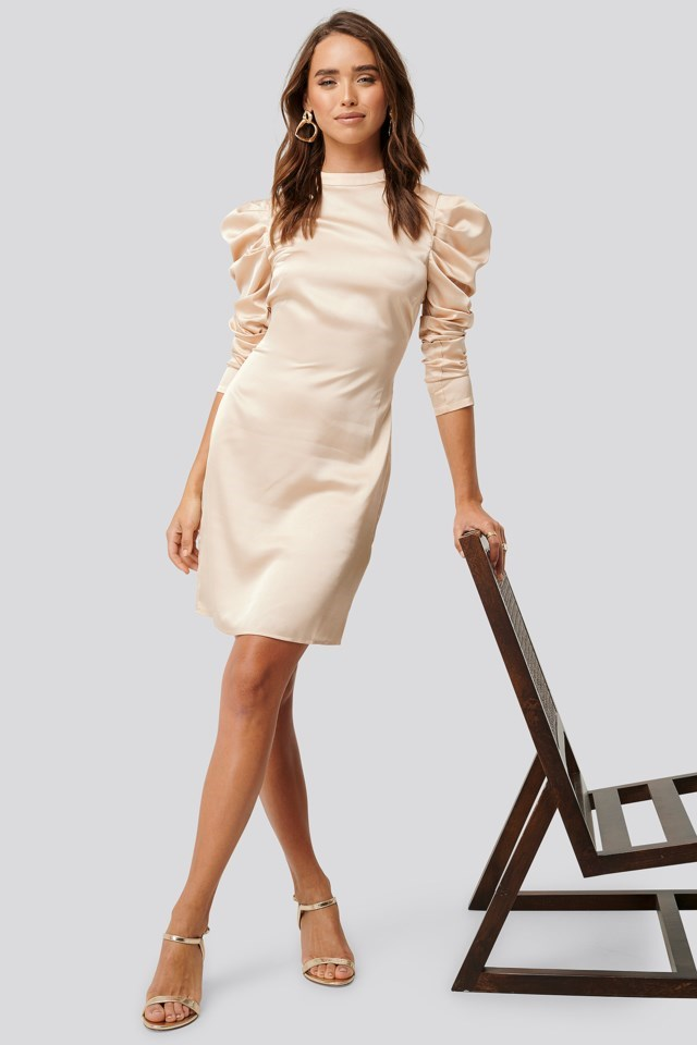 Gathered Satin Dress Outfit.