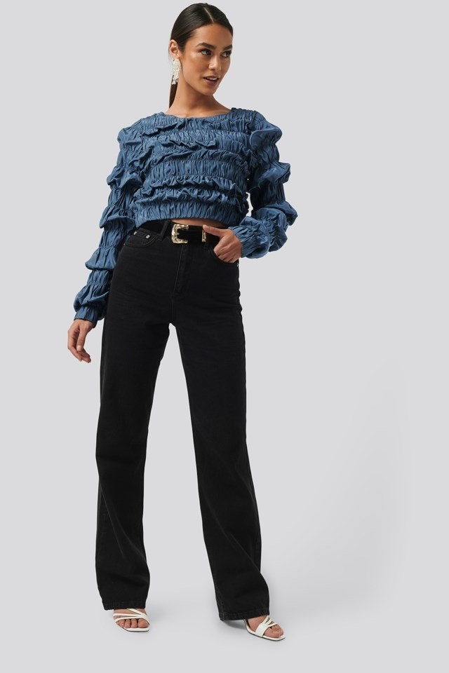 Shirred Long Sleeve Top Outfit.