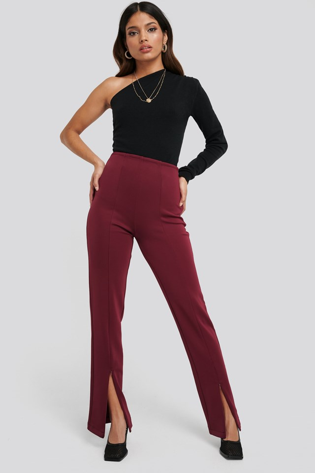 Front Slit ZipperJersey Skinny Trousers outfit