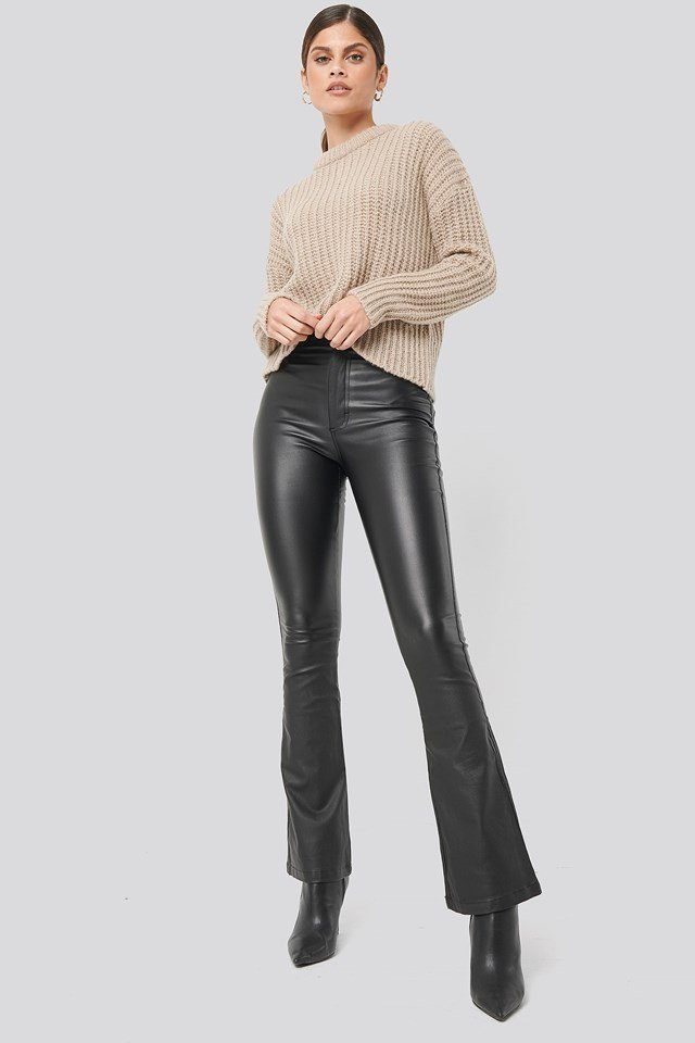 Waxed Flared Pants Black Outfit