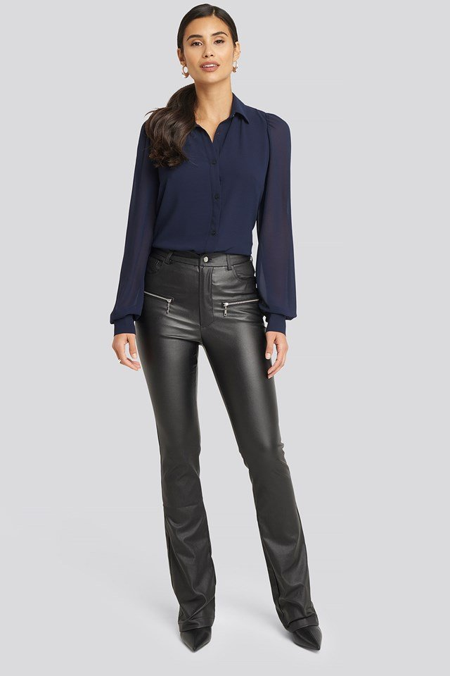 Waxed Bootcut Pants Black Outfit