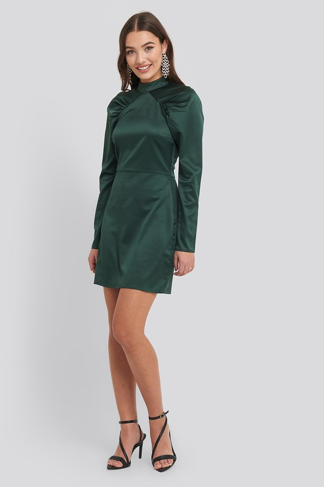High Neck Gathered Sleeve Dress Green Outfit