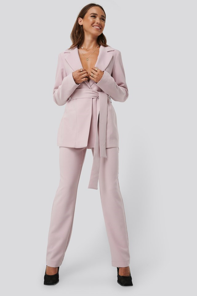 Front Tie Oversized Blazer Outfit