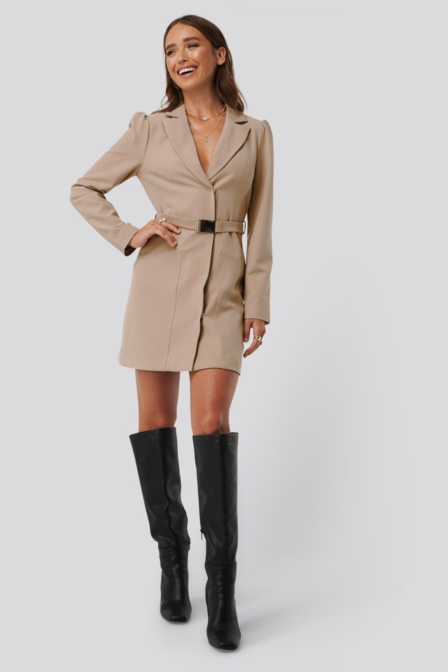 Belted Blazer Dress Outfit