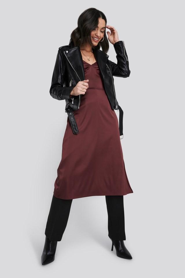 Pu Leather Biker Jacket Black Outfit