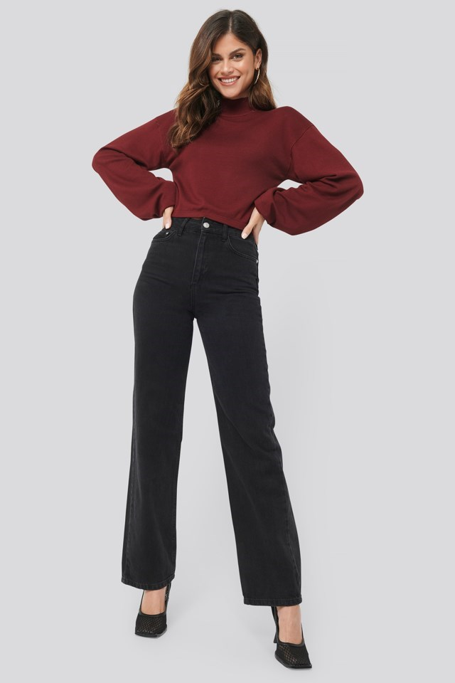 Balloon Sleeve Cropped Sweater Outfit.