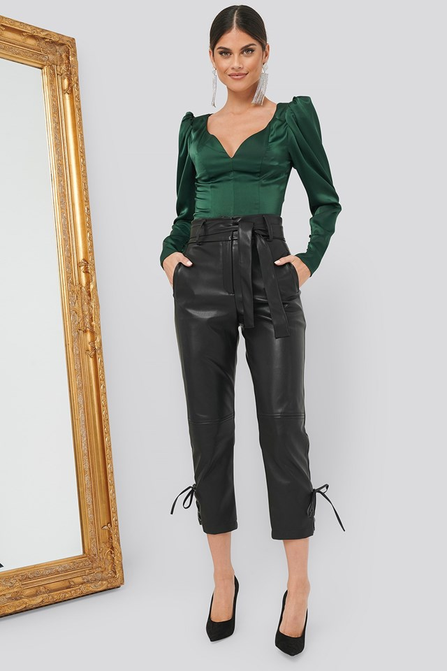 Puff Sleeve Blouse Green Outfit