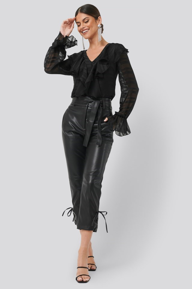 Flounce Front Blouse Black Outfit