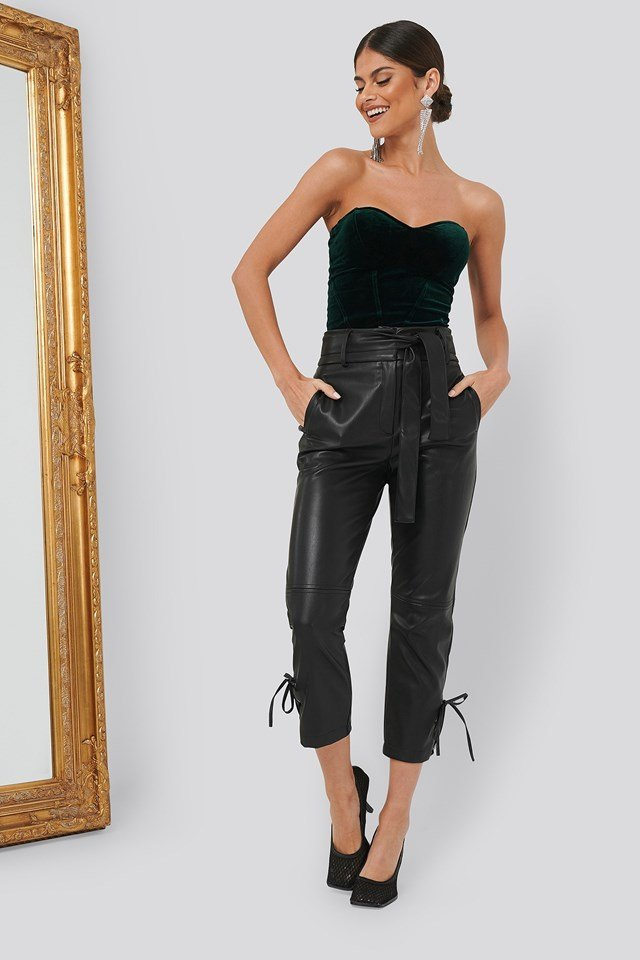 PU Tie Bottom Pants Black Outfit