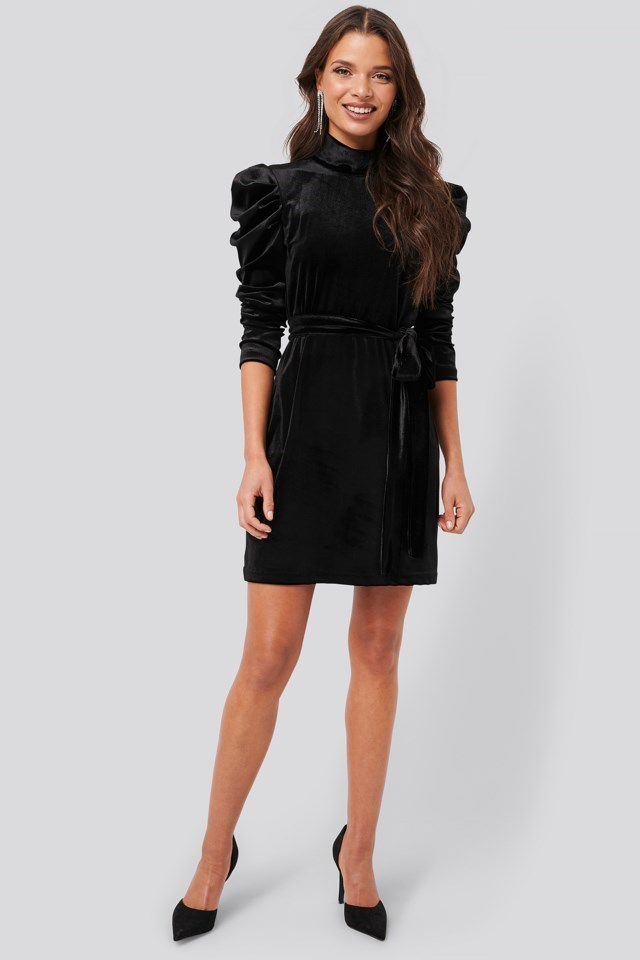 Puffy Sleeve High Neck Velvet Dress Outfit