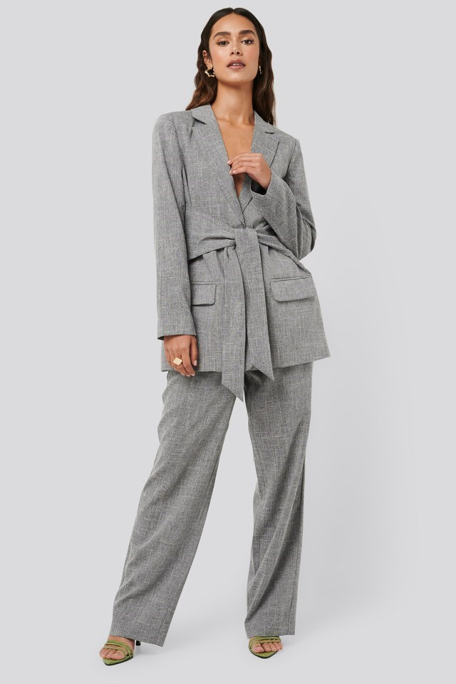 Tie Front Blazer Outfit.