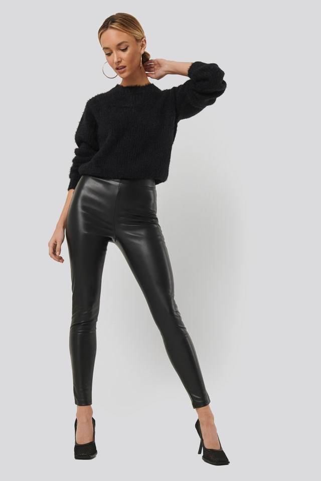 PU Slim Pants Black Outfit