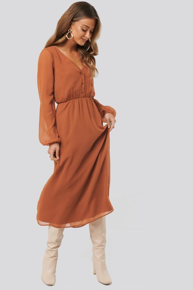 Chiffon Button Detail Dress Outfit
