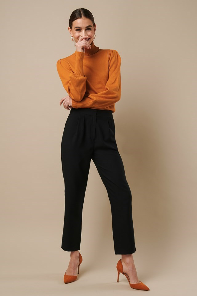 High Neck Puff Sleeve Sweater Orange Outfit