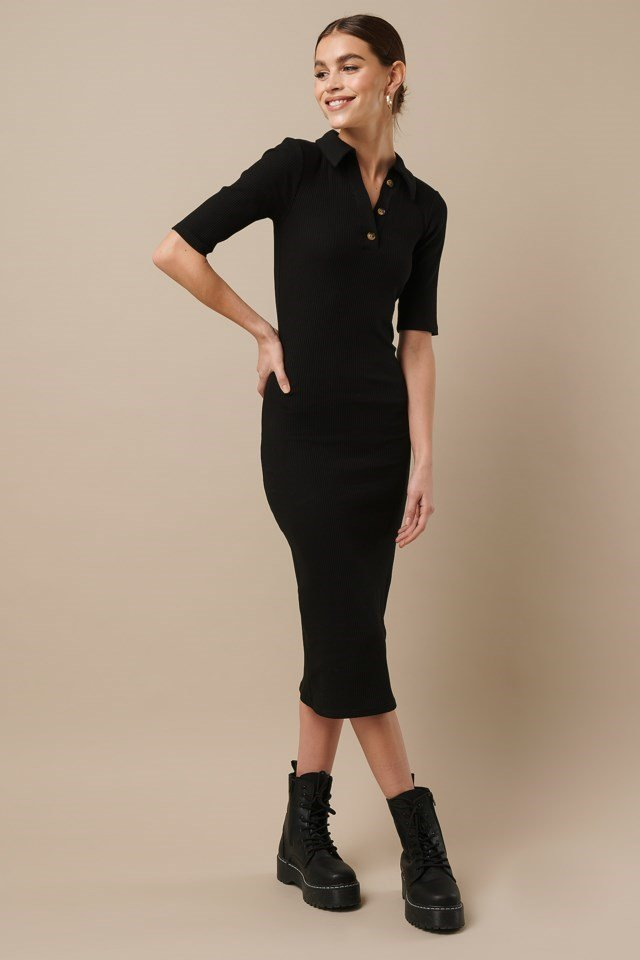Ribbed Jersey Midi Dress Black Outfit
