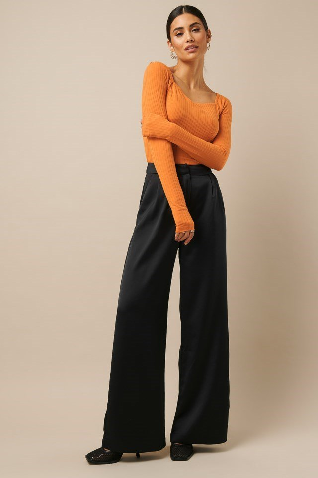 Square Neck Ribbed Top Orange Outfit