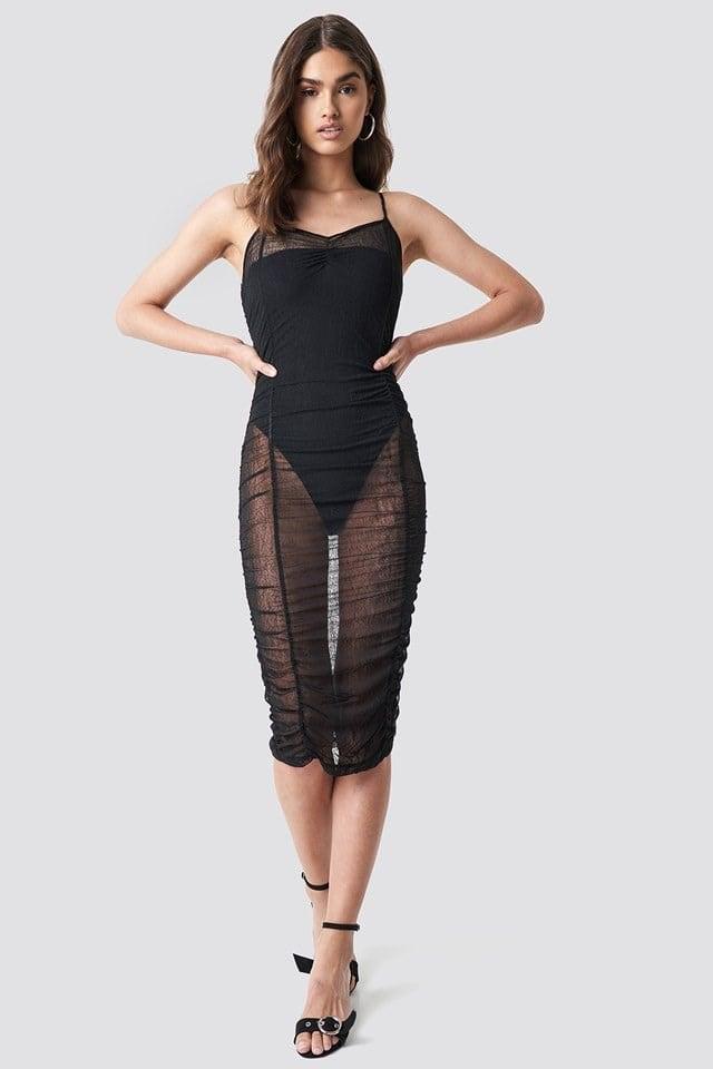 Mesh Bodycon Midi Dress