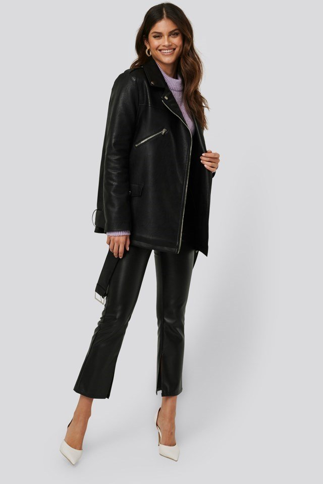 Pu Leather Oversized Jacket Black Outfit