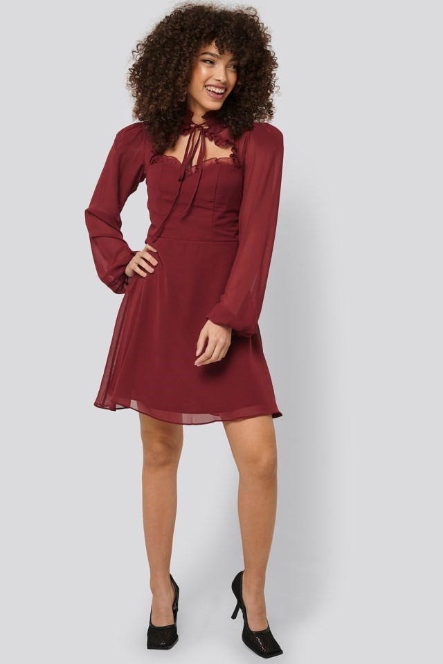 Collar Detailed Mini Dress Outfit