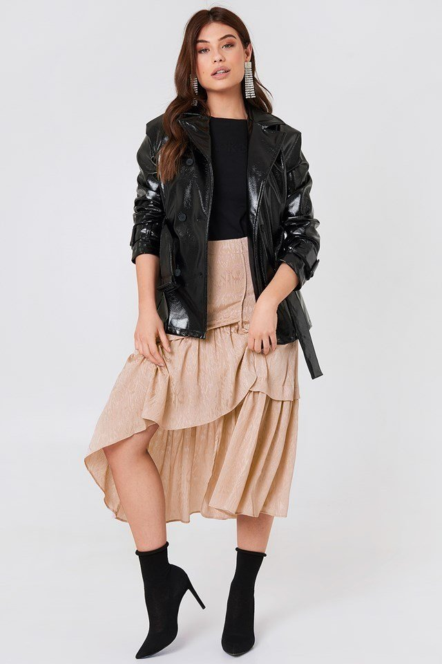 Leather Jacket with Frill Skirt
