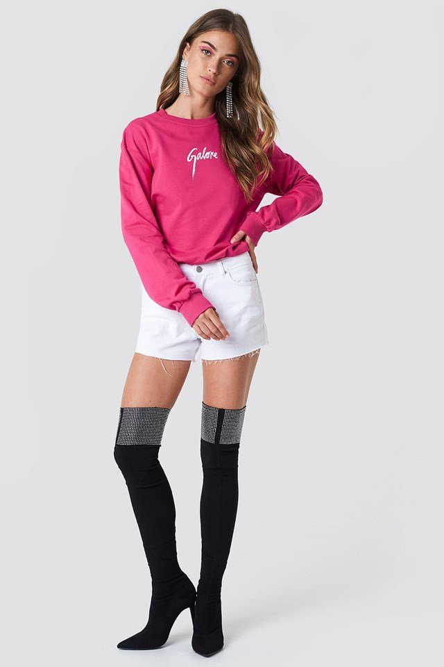 Pink Sweatshirt with Denim Shorts