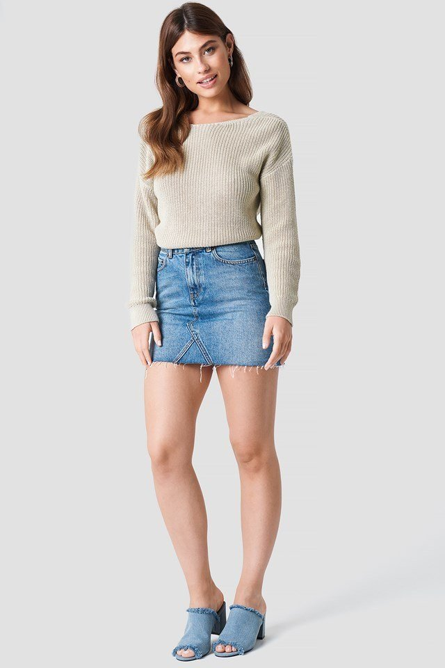 Denim Skirt with Knitted Sweater