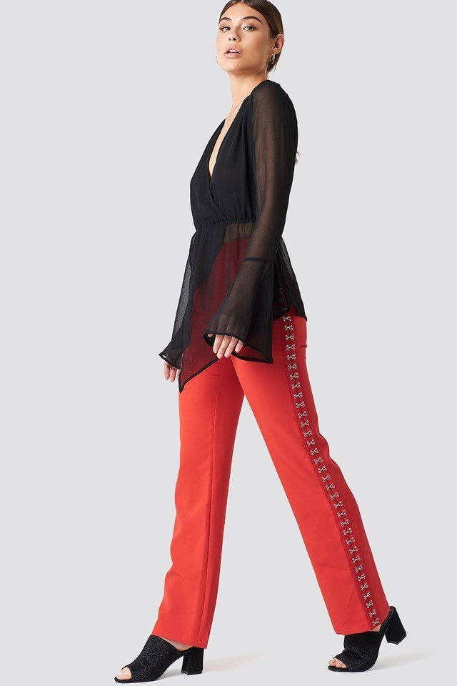 Mesh Blouse with Wide-Leg Trousers