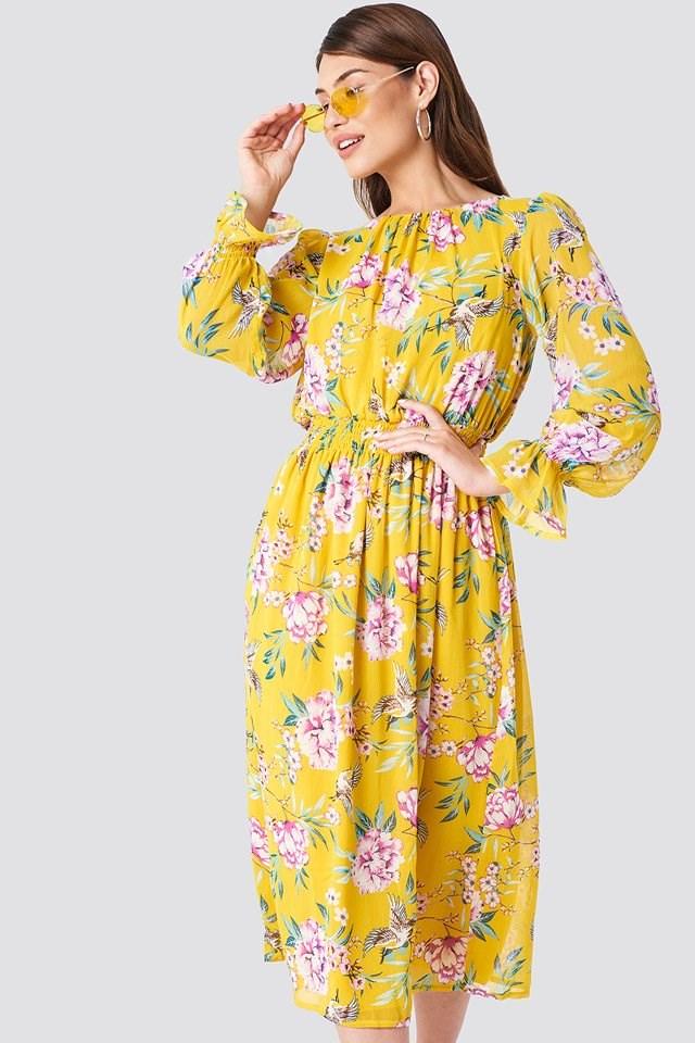 Flowered Midi Dress