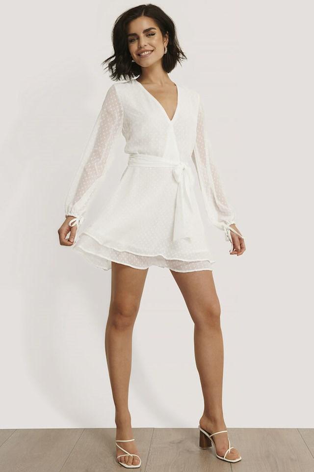 Shirred Overlap Dobby Dress