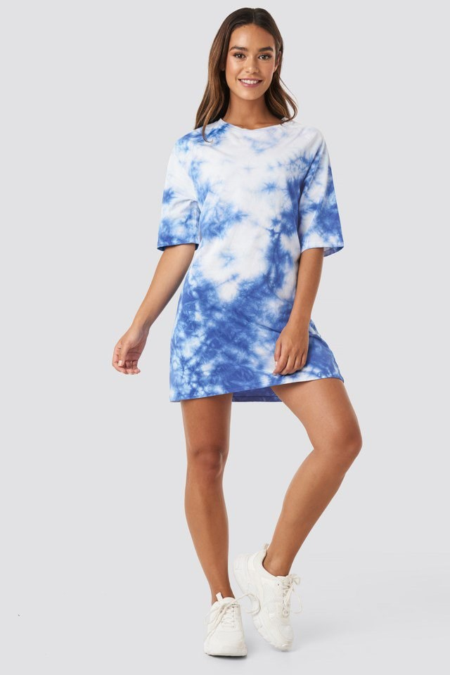 Oversized Tie Dye T-shirt Dress Blue Outfit
