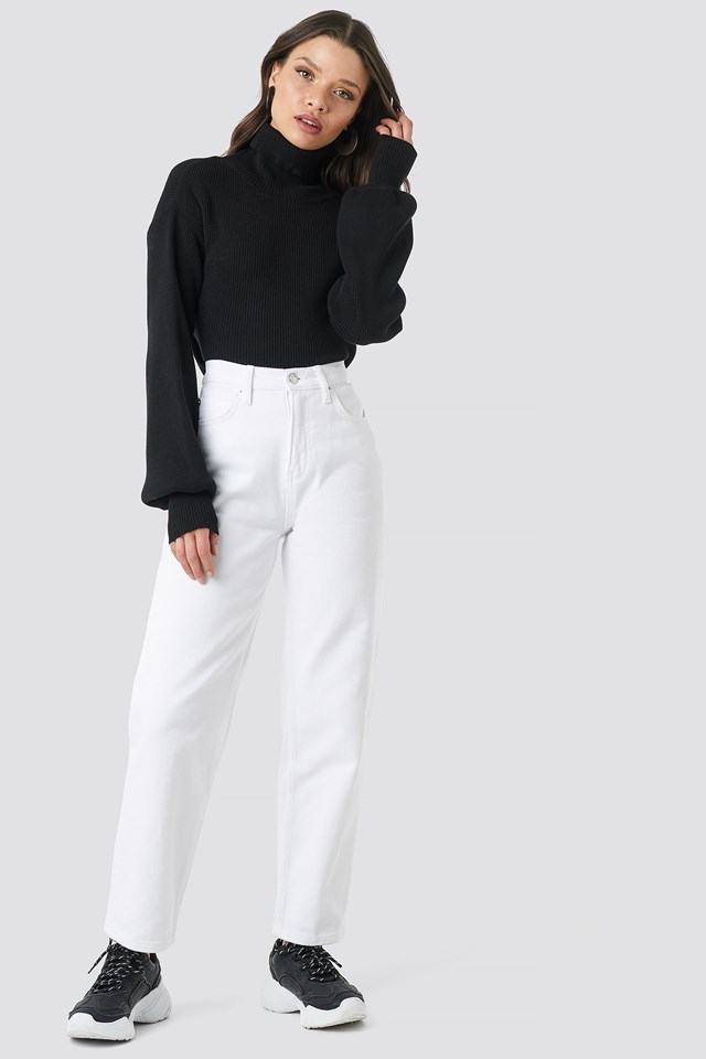 Straight Mom Jeans White
