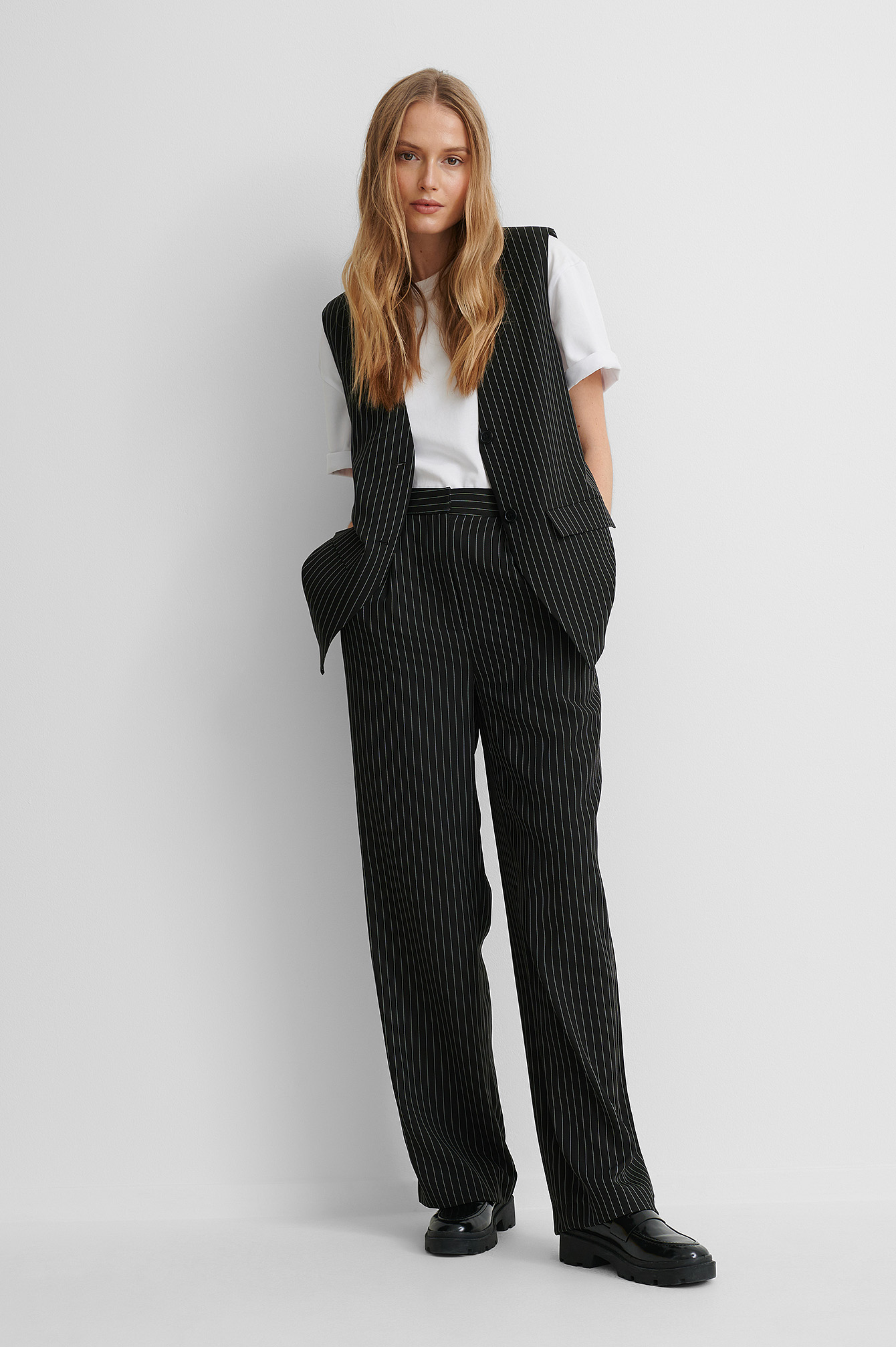 Black Striped Straight Suit Pants