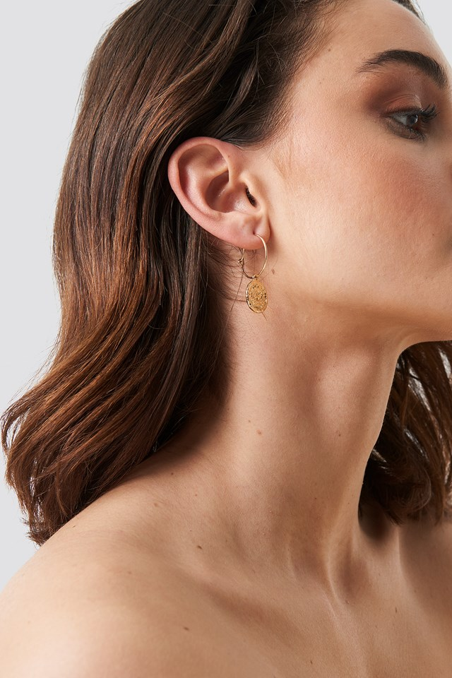 Structured Coin Hoop Earrings Gold