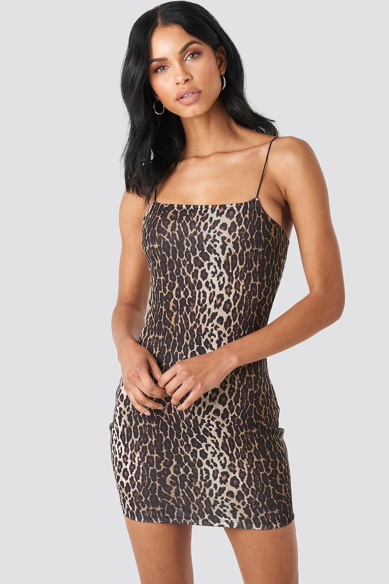 Leopard Spaghetti Strap Dress NA-KD.COM