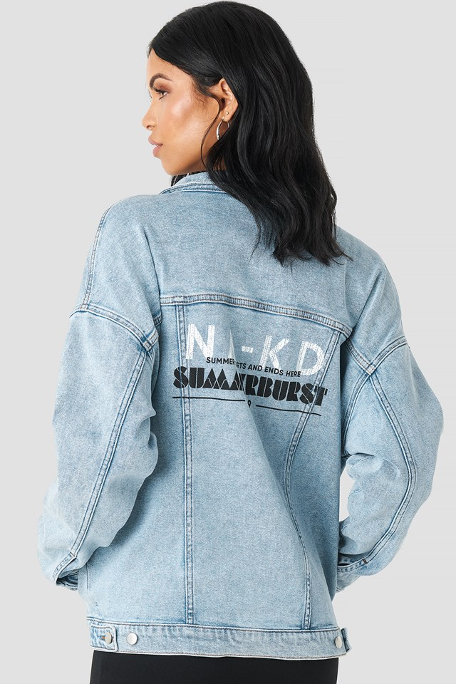 Printed Denim Jacket Blue