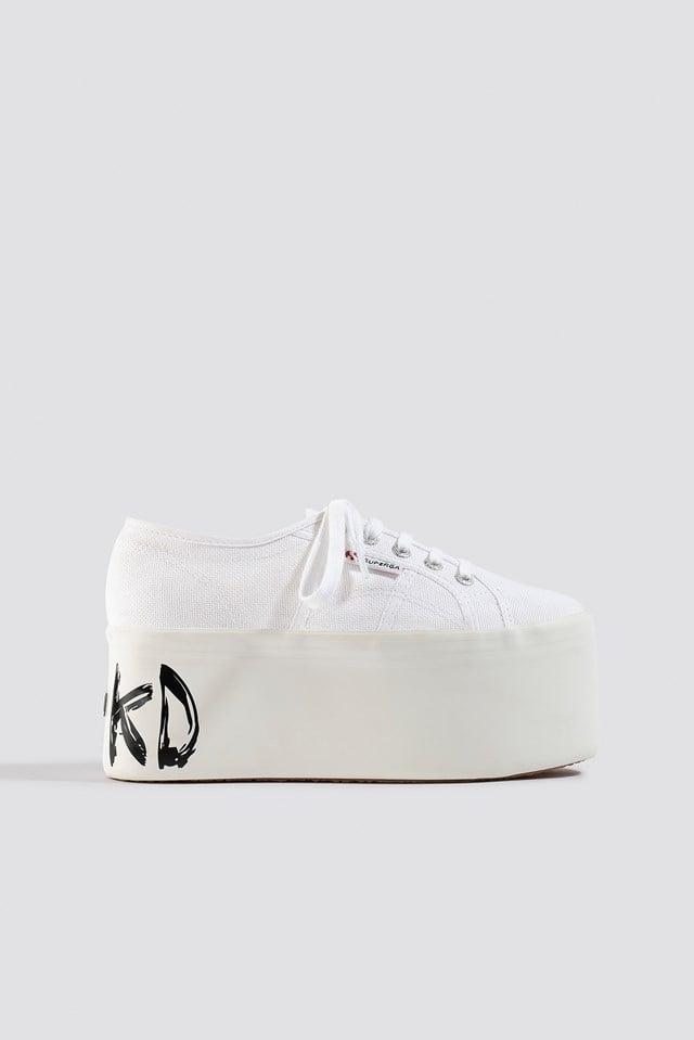 Branded Platform Sneaker White