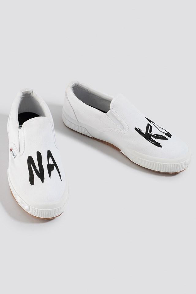 Branded Slip-On Sneaker White/Black
